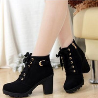 Women Leather Boots  Black