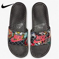 NIKE New fashion letter hook print shoes slippers flip flop Black