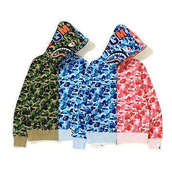 Bape shark camouflage couple trend stitching color hoodie jacket-5