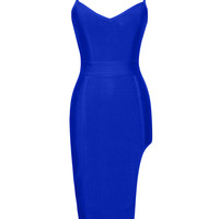 Blue Erika High Slit Bustier Top Bandage Dress