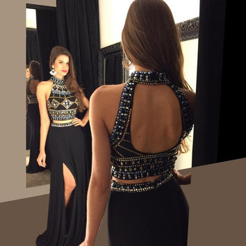 Black Two Piece Long Prom Dresses 2016 Beaded Red High Slit Evening Dresses Party Gown High Neck Robe De Soiree EV18