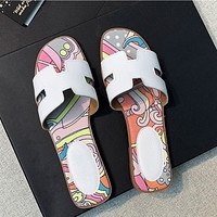 Hermes slippers fashion ladies flat slippers shoes