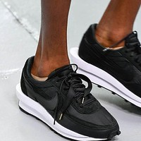 Sacai X Nike LVD WAFFLE joint deconstruction hit color running shoes Black
