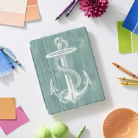 Anchor Vintage Aqua Wood iPad Cover