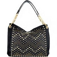 Chevron Gold Tone Studded Rhinestone Handbag Purse w/ Chain Straps Black