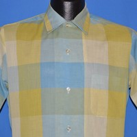 50s Yellow and Blue Check Button Down Shirt Men's Small
