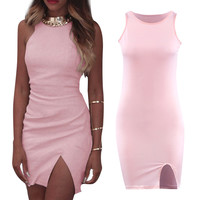 Fashion Womens Sexy Sleeveless Slit Evening Club Party Mini Dress Unique dress with a split up one side  SN9