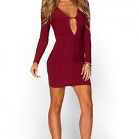 Lupe Burgundy Red Plunging Keyhole Cut Out Long Sleeve Dress