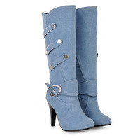 Women's Denim Long Boots Designer Shoes - Party & Evening Gift for Her High Heel Suede Corset Ribbon Tie Strap up Over The Knee Leather Lace up