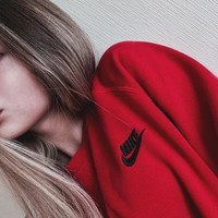Nike: Fashion Sports Sweater Girl Men B-KWKWM Red