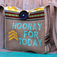 Leah Hip Bag in tribal trim, hand-stamped burlap, yellow and white chevron, & reclaimed leather