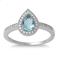 925 Sterling Silver CZ Embraced Tear Drop Simulated Blue Topaz Ring 7MM