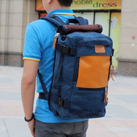 Men's Blue Canvas Backpack Trekking Rucksack Daypack Hiking Bag