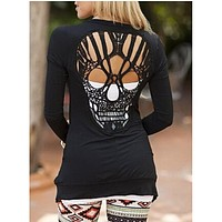 Skull Fashion Hollow Out Womens Sweaters Knitted Long Sleeve Cardigans Spring Summer Thin Cardigans Sexy Blusas Mujer Outerwear