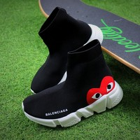 Best Online Sale Balenciaga x CDG Speed Stretch Knit Mid Black Sneakers Socks Shoes