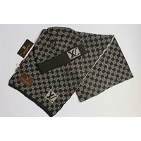 LV Popular Unisex Casual Knit Hat Cap Scarf Set Two-Piece Black