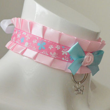 Kitten play collar - Sweet fairy - ddlg little satin princess choker with bow and pendant - kawaii cute fairy kei blue and pink