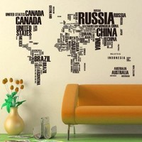 NEW World Map Removable Wall Sticker Home Decal Black 116cm*190cm by Love House
