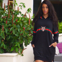 Gucci Fashion Long Sleeve Hooded Dress