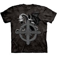 CELTIC CROSS DRAGON The Mountain Irish Knot Fantasy Art T-Shirt S-3XL NEW