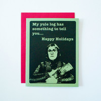 Twin Peaks christmas card set of 4, happy holidays log lady solstice cards