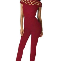 Womens Sexy Hollow Slim Jumpsuit
