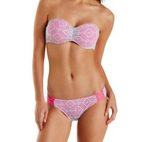 Pink Combo Caged Crochet Bandeau Bikini Top by Charlotte Russe