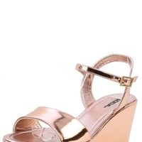 Soda Jozy-H Penny Metallic Platform Wedges and Shop Shoes at MakeMeChic.com