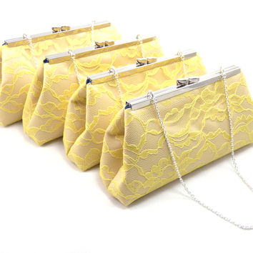 Set of Four Champagne, Yellow Lace and Navy Blue Bridesmaid Gift Clutches 5% Off