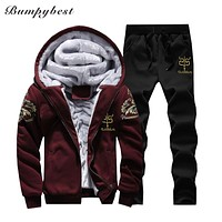 Winter Mens Warm Set Fleece Track suits for Men Tracksuit Brand Clothing Sudaderas Hombre RunningMens Suits Male Clothing