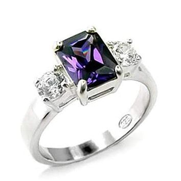 Silver Band Ring Womens 6X244 - 925 Sterling Silver Ring with AAA Grade CZ