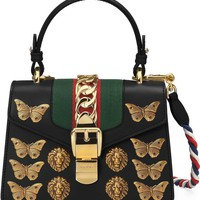 Gucci Mini Sylvie Animal Studs Leather Shoulder Bag | Nordstrom