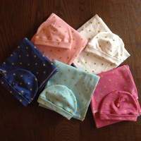 Gold Polka Dot Swaddle and Newborn Hat