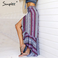 Simplee Vintage boho print split long skirt Summer 2017 soft cotton high waist mermaid skirt Women beach loose wrap maxi skirt