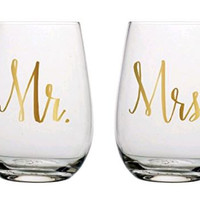 20oz Mr & Mrs Stemless Wine Glass Set