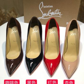 CL Christian Louboutin red sole classic rivet Roller Boat CL high heel boots for women RED PINK BLACK
