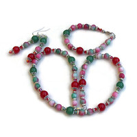 Red Green Necklace Bracelet Earrings Set, Cristmas Jewelry, Colorful Apple Jade, Mutistone Sparkling Festive, OOAK Unique ALFAdesigns