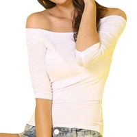 CrazyPomelo Women's sexy off the shoulder bodycon half sleeve t- shirt-1- M