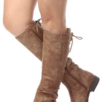 Chestnut Faux Leather Knee High Distressed  Boots