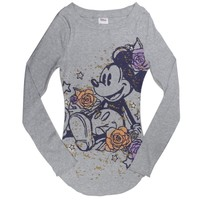 Mickey Mouse - Roses Juniors Long Sleeve T-Shirt