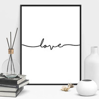 Love Sign Word Art Black and White Poster Canvas Prints Art inspirational wall m