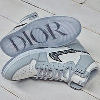 DIOR NIKE Air jordan 1 High top Gray sports running shoes sneakers