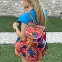 Leather Backpack with multicolor floral embroidery