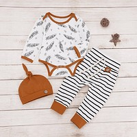 Newborn Baby Long Sleeve Feather Print Set