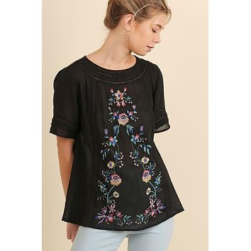 Short Sleeve Blouse Top with Floral Embroidery in Black