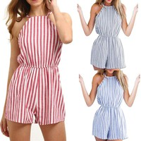 Women's Sleeveless Striped Jumpsuit Bodycon Party Clubwear Playsuit Romper Pants