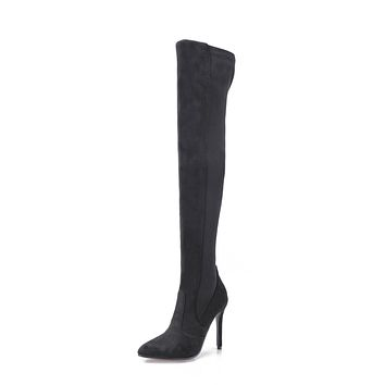 Pointed Toe Stiletto Heel Over the Knee Boots Winter Shoes for Woman 2658