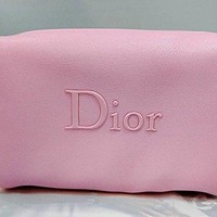 Dior Beaute Counter Gift - Pink Makeup Bag with Black Zipper