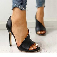 Fashionable Super High-heeled Fishmouth Sandals Large Size Fine-heeled Women's Shoes