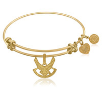 Expandable Bangle in Yellow Tone Brass with U.S. Air Force Symbol